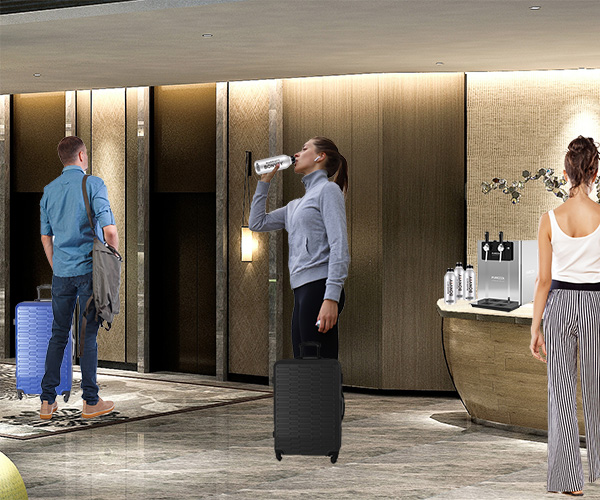 Water On Demand With a Hydration Station in Hotel Lobby by Elevator With R4 Bottles (Aluminum Bottles).