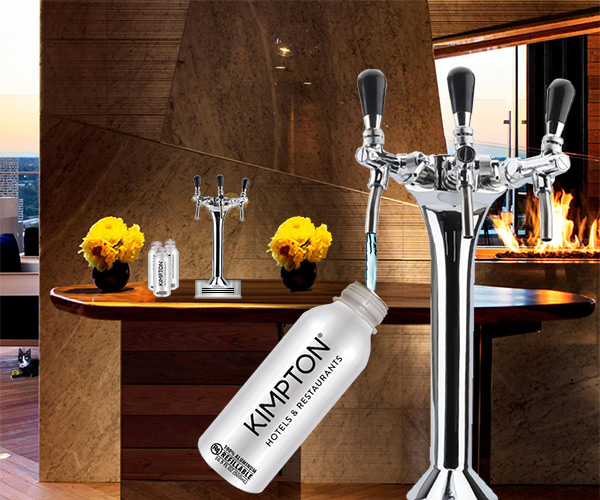 Built In Water On Demand Tap - Hydration Station in Hotel Lounge With Aluminum R4 Bottles.