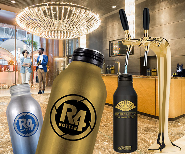 R4 Bottles Used With On Demand Hydration Station in Grand Hotel Lobby